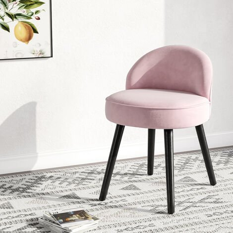 Vintage Bedroom Dressing Table Stool Velvet Vanity Chair with Wooden Legs Pink