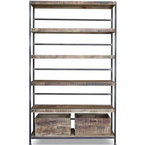 Vintage bookshelf industrial steel and wood 5 shelves Natural wood