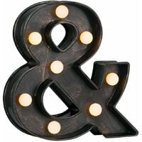 Vintage Brushed Bronze Battery Operated LED Light - Ampersand '&' Symbol