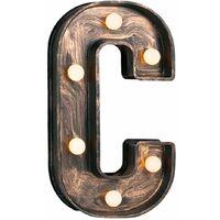 Vintage Brushed Bronze Battery Operated LED Light - Letter C