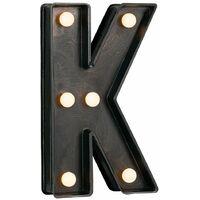 Vintage Brushed Bronze Battery Operated LED Light - Letter K