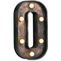 Vintage Brushed Bronze Battery Operated LED Light - Letter O