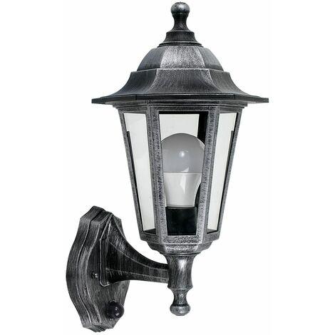 Vintage Brushed Silver & Black Outdoor Security Ip44 Wall Light + Dusk To Dawn Sensor