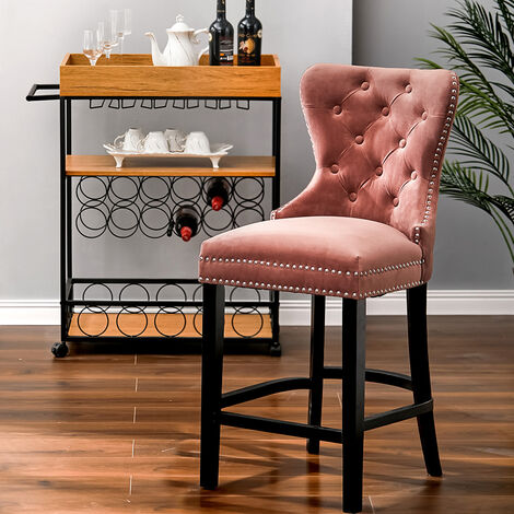 """main image of """"Vintage Buttoned Studded Counter Seat Breakfast Stool Kitchen Dining Chair, Pink"""""""