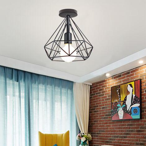 Vintage Cage Ceiling Light,Retro Industrial Metal Lamp Black for Loft Home Office Restaurant Cafe