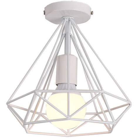 Vintage Cage Ceiling Light,Retro Industrial Metal Lamp White for Loft Home Office Restaurant Cafe