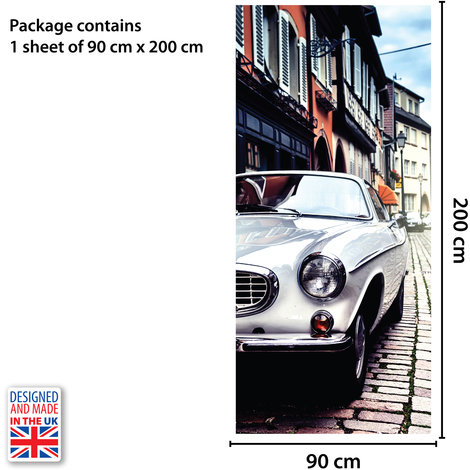 Vintage Car Self-Adhesive Door Mural Sticker For All Europe Size 90Cm X 200Cm