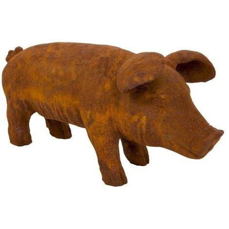 Vintage Cast Iron Pig Sculpture