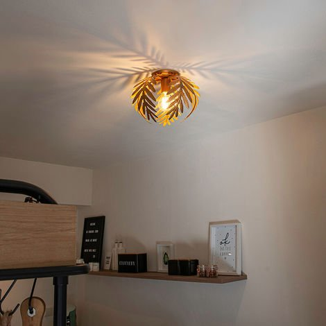 Vintage Ceiling Lamp Leaf 5 Gold - Botanica