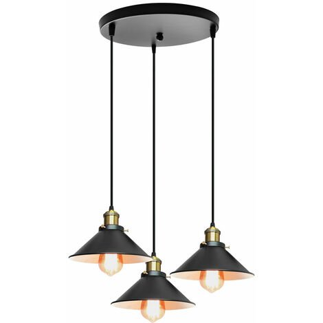 Vintage Ceiling Light Black Retro Industrial Pendant Light,3 Lamp Holders Hanging Light Antique Pendant Lamp Ø22cm E27 Classic Chandelier