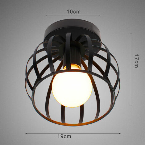 Vintage Ceiling Light Black Round Chandelier Industrial Retro Ceiling Lamp Cage Metal E27 Bedroom Hallway Ceiling Light