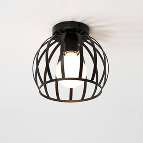 Vintage Ceiling Light Black Round Chandelier Industrial Retro Ceiling Lamp Metal Cage Bedroom Hallway Ceiling Light E27