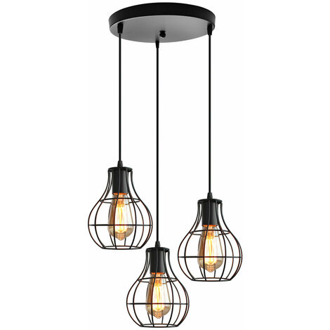 Vintage Ceiling Light Metal Retro Chandelier 3-Lights Industrial Pendant Lamp for Dining Room, Kitchen, Black E27