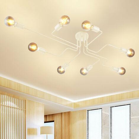 Vintage Ceiling Light Retro Chandelier Industrial Ceiling Lamp Personality Creative Pendant Light 8 Lights Socket White