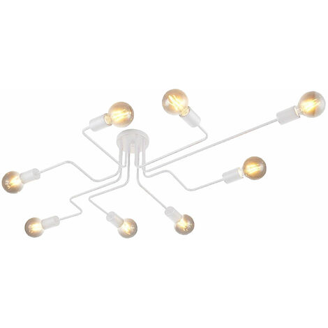 Vintage Ceiling Light Retro Chandelier Industrial Ceiling Lamp Personality Creative Pendant Light 8xE27 Socket White