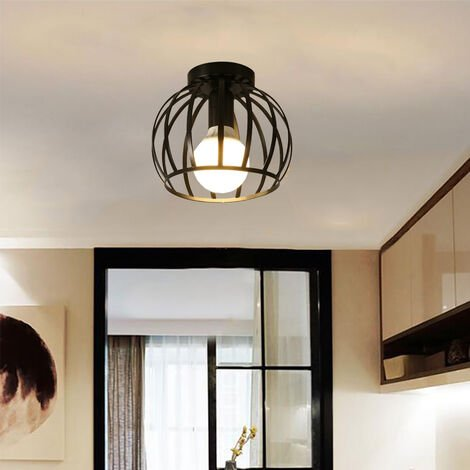Vintage Ceiling Light Round Chandelier Retro Industrial Ceiling Lamp Cage Metal E27 Bedroom Hallway Ceiling Light Black