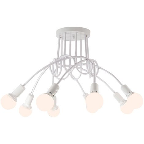Vintage Ceiling Light White E27 Industrial Chandelier Antique 8 Heads Pendant Light for Living Room Dining Room Bar Hotel Restaurant
