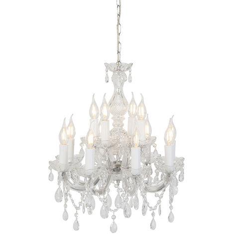 Vintage chandelier chrome C-arm 5 lights - Marie Theresa