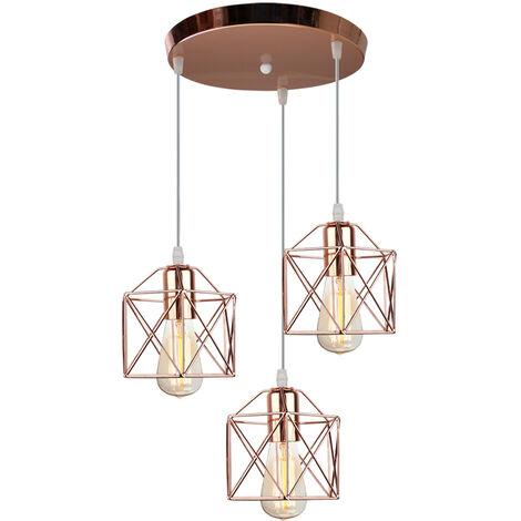 Vintage Chandelier E27 Modern Pendant Light Metal Ceiling Lamp 3 Lights Retro Pendant Lamp Rose Gold
