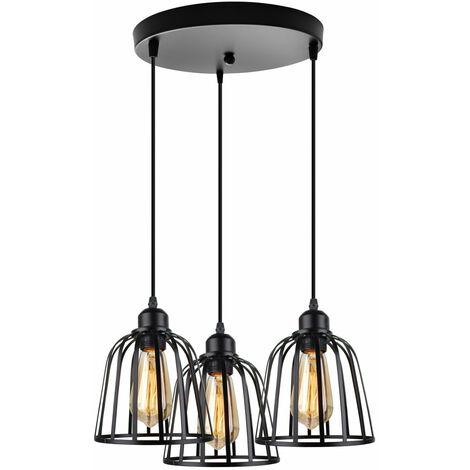 Vintage Chandelier Industrial Pendant Light 3 Lights Antique Ceiling Light Metal Cage Lamp Shade for Cafe Loft Black E27