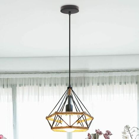 Vintage Chandelier lamp Industrial Diamond Shape Iron Cage 25 cm , Retro Hemp Rope Pendant Ceiling Lamp E27