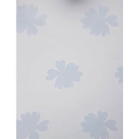 Vintage Chic Floral Motif Wallpaper White Blue Flowers Girls Room East West