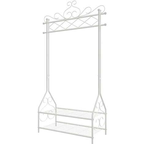 Vintage Clothes Stand and Rack with Garment Rail and 2 metal shelves 92 x 41 x 173cm Beige HSR07W - Beige