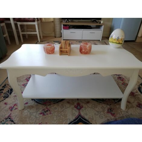 Vintage Coffee Table French Style Furniture White Living Room Wood Storage Shelf