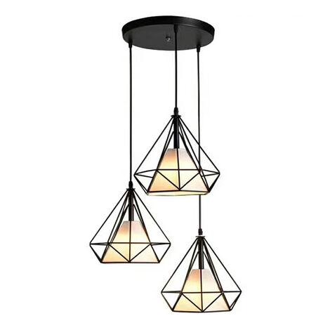 Vintage Creative Ceiling Lamp 3 Lights Ceiling Light 20cm Cage Pendant Lamp Black Retro Nordic Chandelier Diamond Shape Pendant Light