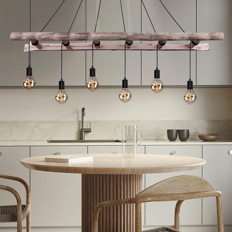 Vintage Decken Pendel Leuchte Holz Leiter FILAMENT Hänge Lampe dimmbar im Set inkl. LED Leuchtmittel