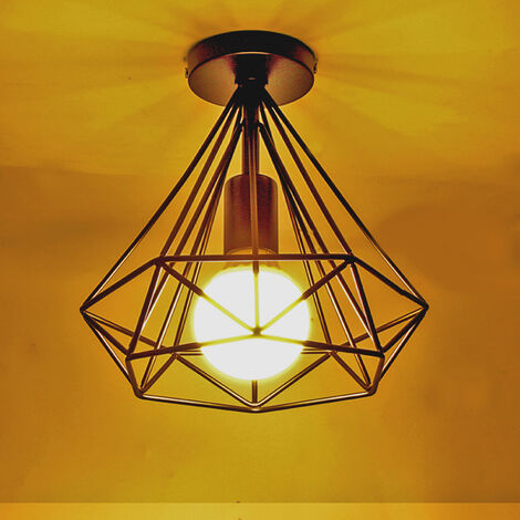 Vintage Diamond Ceiling Lamp Black Metal Cage Industrial Ceiling Light Creative Chandelier 25CM