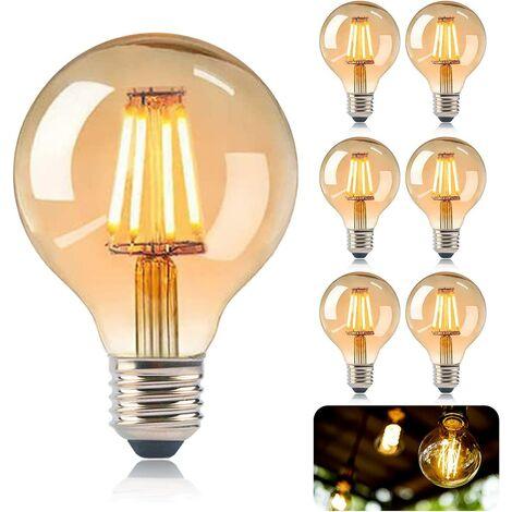 Vintage E27 Edison Bulb, Edison LED Bulbs E27 G80 4W Lamp, Retro Filament Edison Bulb, Vintage Antique Decorative Warm White Lamp for Restaurant, Cafe, Windows, Showrooms-6 Packs