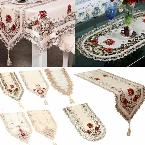 Vintage Embroidered Lace Yarn Tablecloth Table Runner Doily Doily Home Decor (Round 150cm)