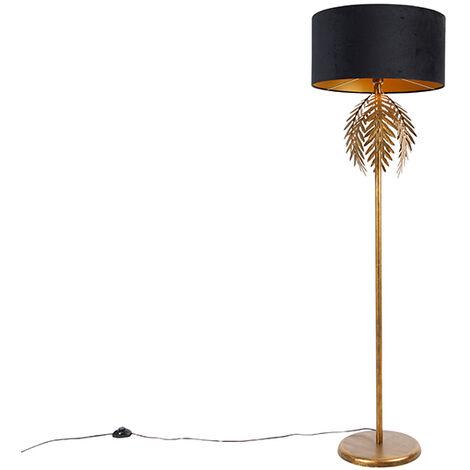 "main image of ""Vintage floor lamp gold with black velvet shade 50 cm - Botanica"""