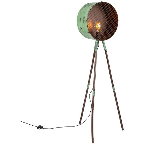 Vintage floor lamp on bamboo tripod green with copper - Barrel