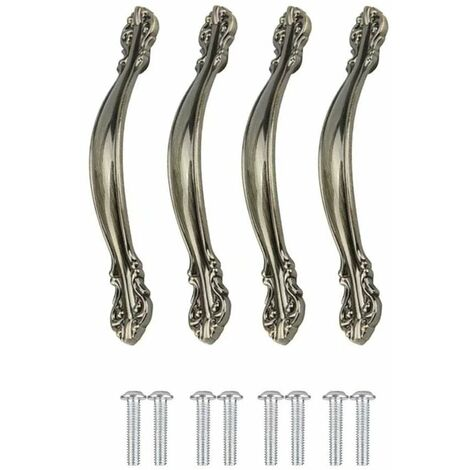 Vintage Furniture Handle 6 Pieces Handles Door Furniture Kitchen Wardrobe Handles Vintage Handles Drawer Carved Alloy Closet Handles, with Screws, Hole Side 96mm
