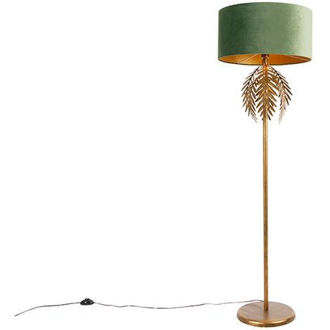 Vintage gold floor lamp with green velvet shade - Botanica