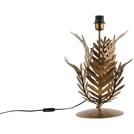 Vintage gold table lamp without shade - Botanica
