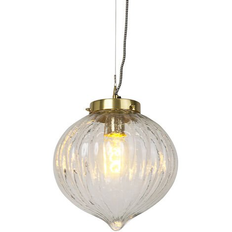 Vintage hanging lamp glass with brass - Visha