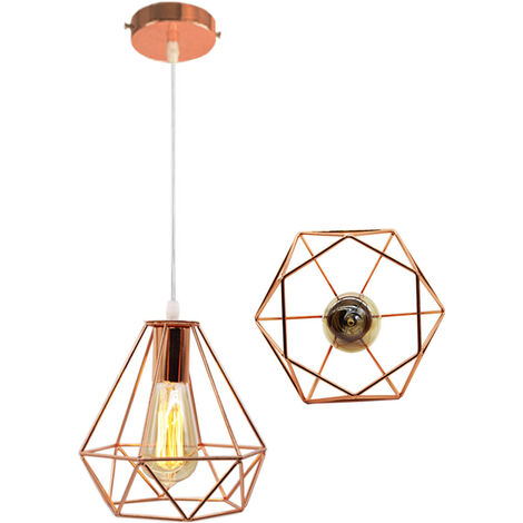 Vintage Hanging Light 20cm Diamond Chandelier Retro Industrial Pendant Light Height Adjustable Pendant Lamp for Living Room Dining Bar Office Rose Gold
