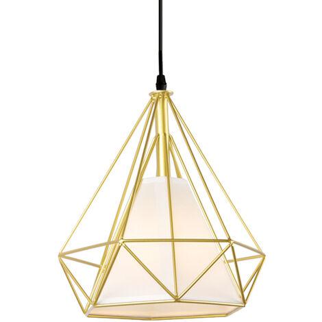 Vintage Hanging Light Retro Pendant Light Gold Industrial Chandelier Metal Iron Pendant Lamp E27 Ø25cm Diamond Shape Ceiling Light