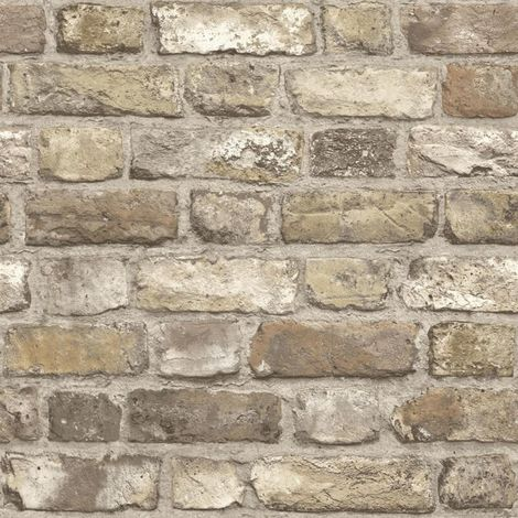 Vintage House Brick Stone Wallpaper Beige Brown Grey Paste Wall Vinyl Grandeco