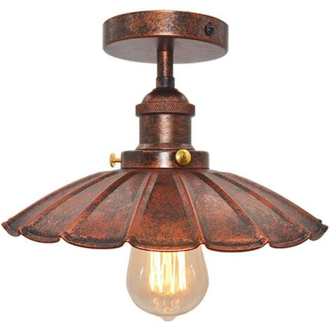 Vintage Industrial Ceiling Light Iron Metal Chandelier Retro Ceiling Lamp E27 for Loft Bar (Red Rust)