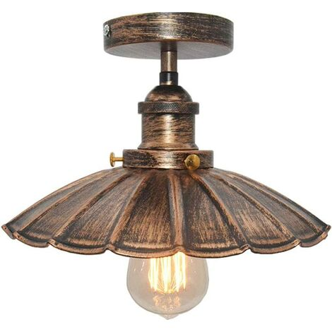 Vintage Industrial Ceiling Light Iron Metal Chandelier Retro Ceiling Lamp E27 for Loft Bar (Rust)