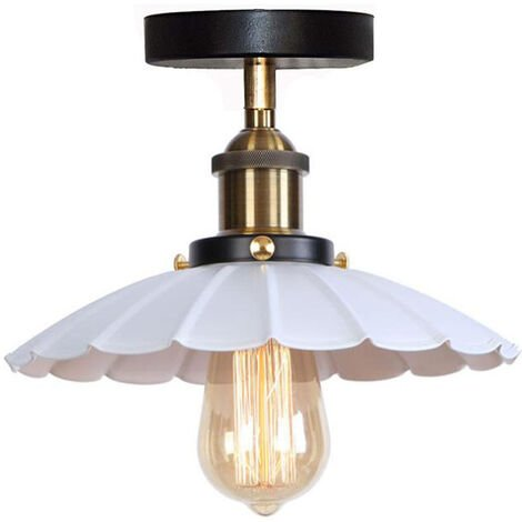 Vintage Industrial Ceiling Light Iron Metal Chandelier Retro Ceiling Lamp E27 for Loft Bar (White)