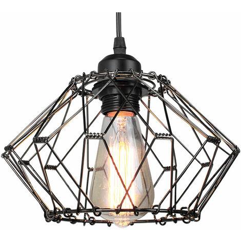 Vintage Industrial Ceiling Light Retro Pendant Lamp Black Creative Deformable Pendant Light E27 Socket Metal Cage Hanging Light