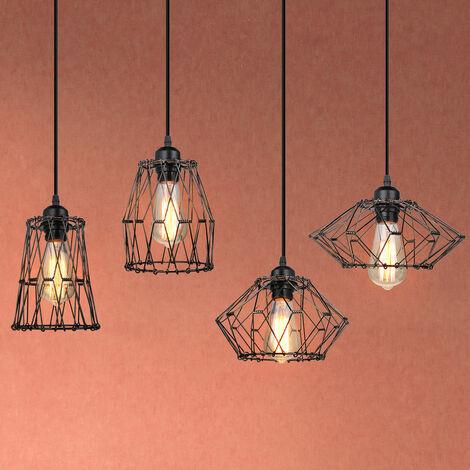 Vintage Industrial Ceiling Light Retro Pendant Lamp Black Creative Deformable Pendant Light Metal Cage Hanging Light E27 Socket