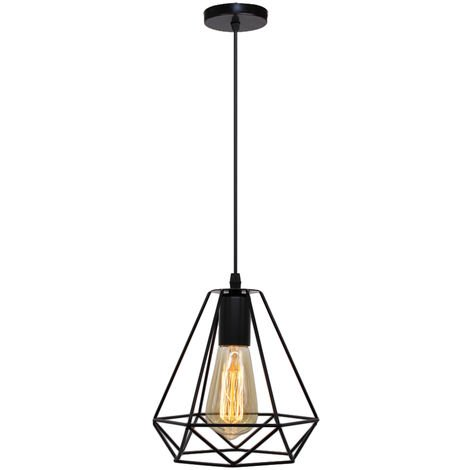 Vintage Industrial Chandelier Black Diamond Pendant Lamp Metal Retro Cage Ceiling Light Single Light Shade Hanging Lighting Fixture E27 Socket