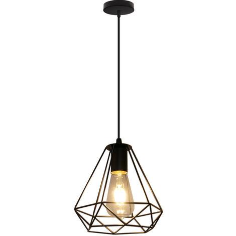 Vintage Industrial Chandelier Black Diamond Pendant Lamp Metal Retro Cage Ceiling Light Single Light Shade Hanging Lighting Fixture E27 Socket