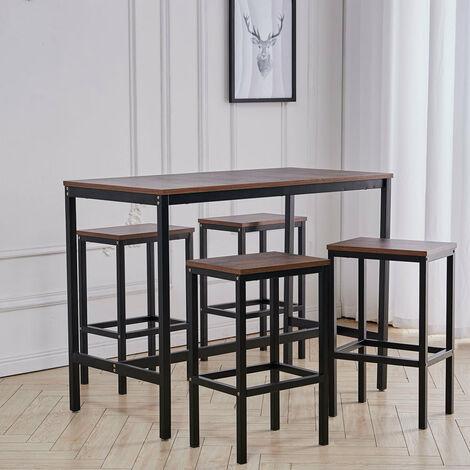 Vintage Industrial Dining Table Metal Furniture Set 4 Chair Bistro Rustic Kitchen